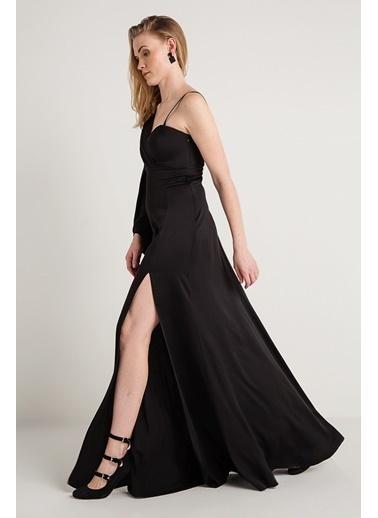 Rue Uzun Yırtmaçlı Abiye Elbise Siyah
